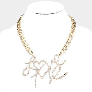Love Me Rhinestone Pave Metal Chain Necklace